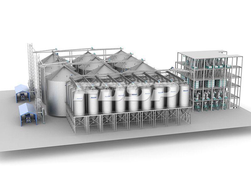 Línea de producción con una producción anual de 60.000 toneladas de alimento para cerdos y una producción anual de 600.000 toneladas de alimento para cerdos de engorde.