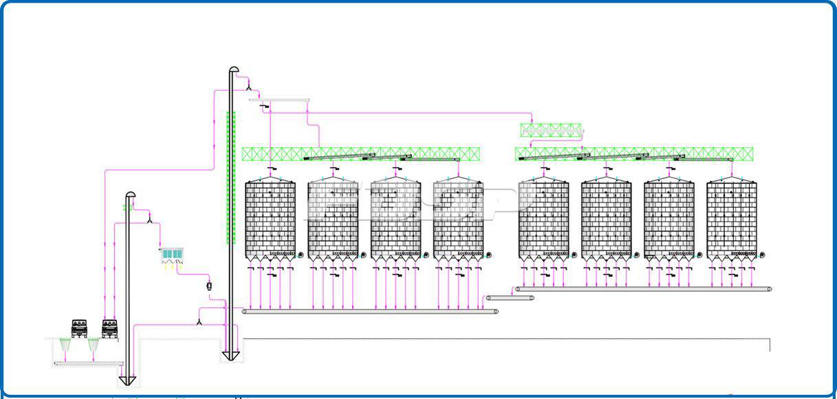Proyecto de silo de acero para maíz 8-4000T de la industria de granos