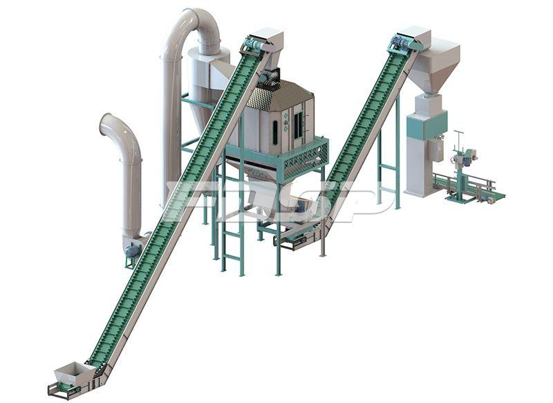Línea de producción de granulación de fertilizante orgánico de estiércol de oveja de 1.5-2.5t / h