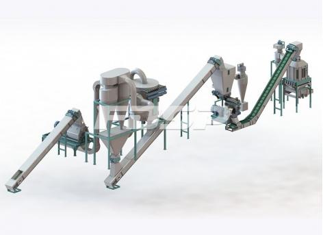 Línea de producción de peletización de biomasa de cáscara de nuez y orujo de 1 tonelada por hora