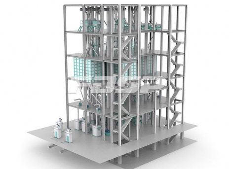 Línea de producción de alimentos para ganado vacuno y ovino de tres líneas SZLH678 (50-60 toneladas por hora)