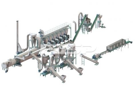 5-7 toneladas por línea de producción de troncos por hora